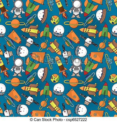 Pattern clipart space Illustration seamless cartoon Vector csp6527222