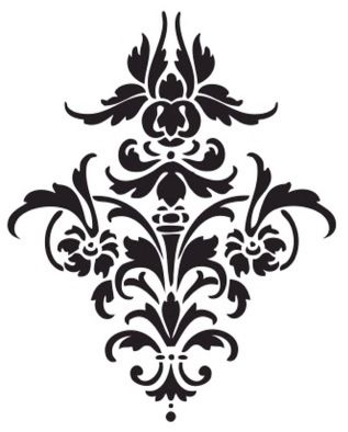 Damask clipart single Pefect stencil 25+ patterns Printable