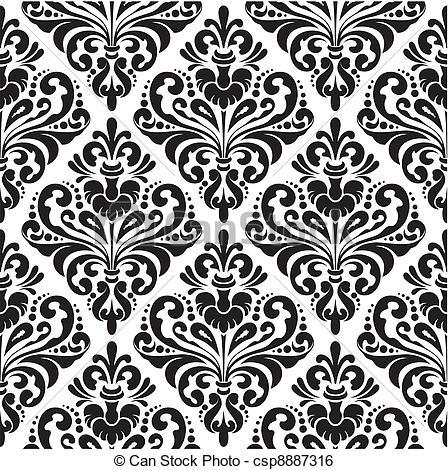 Pattern clipart wallpaper Black wallpaper Damask white seamless