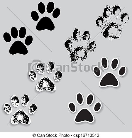 Paw clipart animal foot Clip with feet print csp16713512