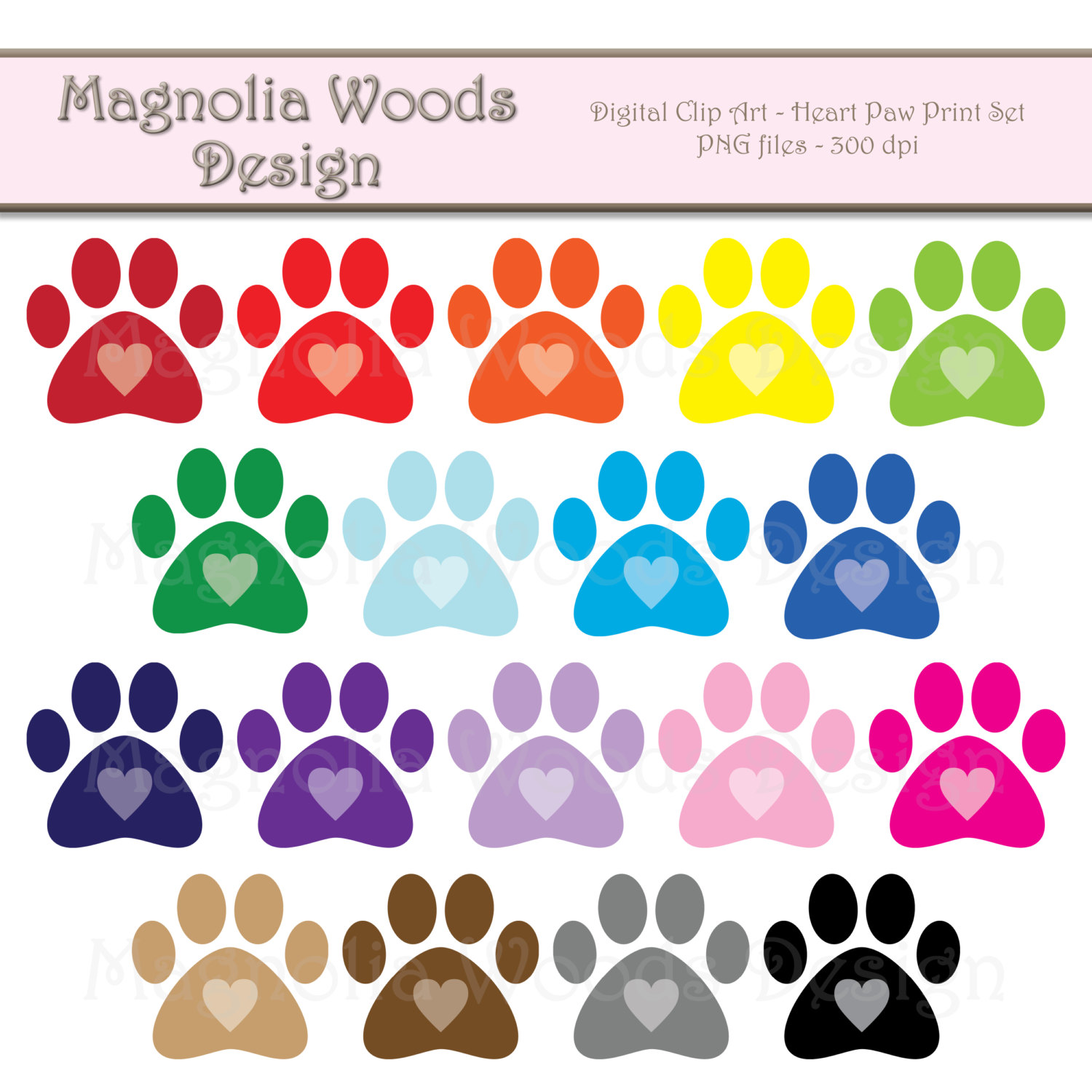 Paw clipart animal foot Paw Heart Art Art Print
