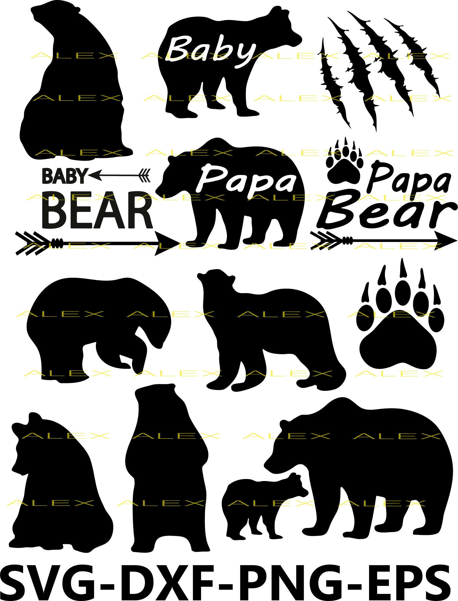 Paw clipart baby bear  Bear file eps svg