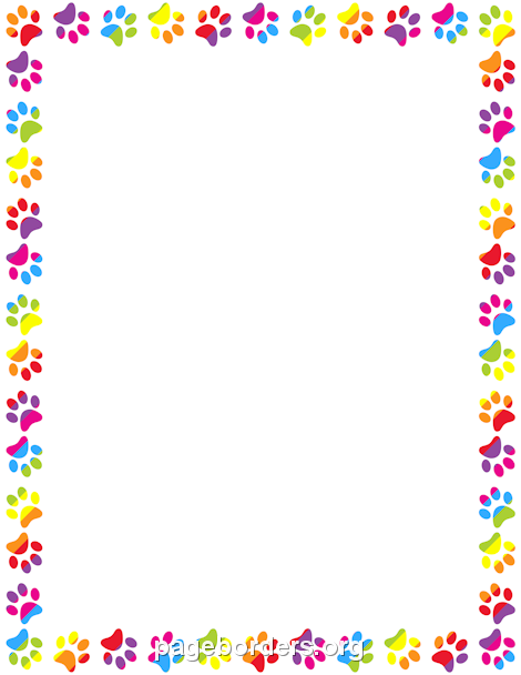 Paw clipart border  Word or Printable paw