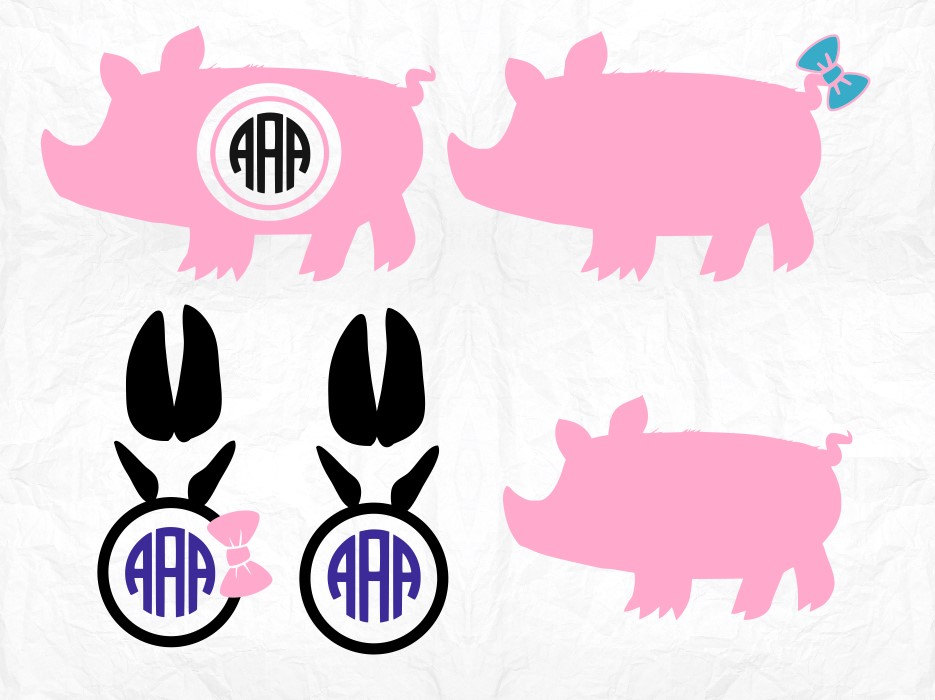 Paw clipart pig Cameo monogram Files file Clipart