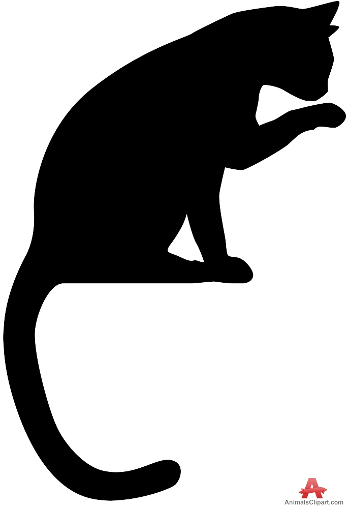 Paw clipart silhouette Design Paw Licking Licking Silhouette