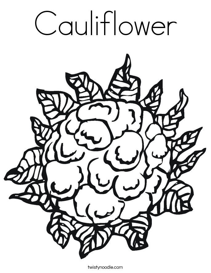 Cauliflower clipart outline Page Coloring Coloring Noodle Page