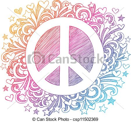 Peace clipart doodle  Art Sign Vector of
