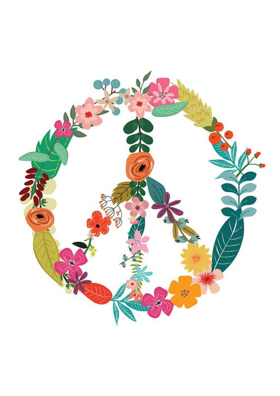 Peace clipart flower power Flower Print Sign Print Home
