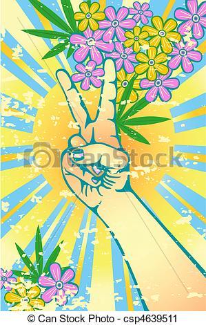 Peace clipart flower power Flower gesturing power Clip Vector