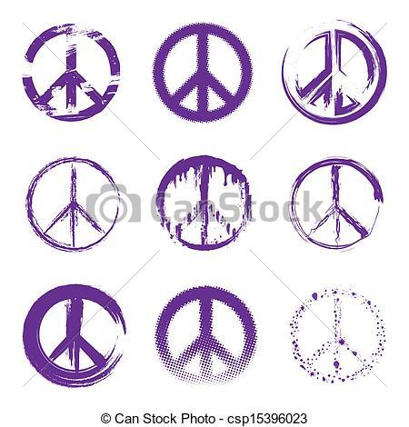 Peace clipart vector Grunge csp15396023 of purple Peace