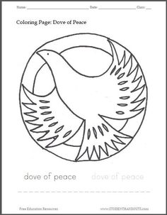 Peace Dove clipart coloring page #10