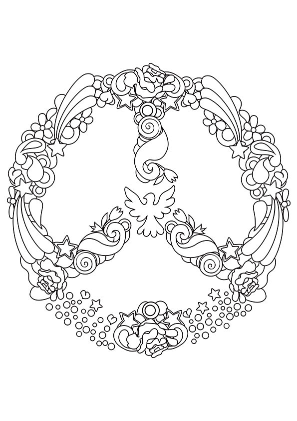 Peace Dove clipart coloring page #15