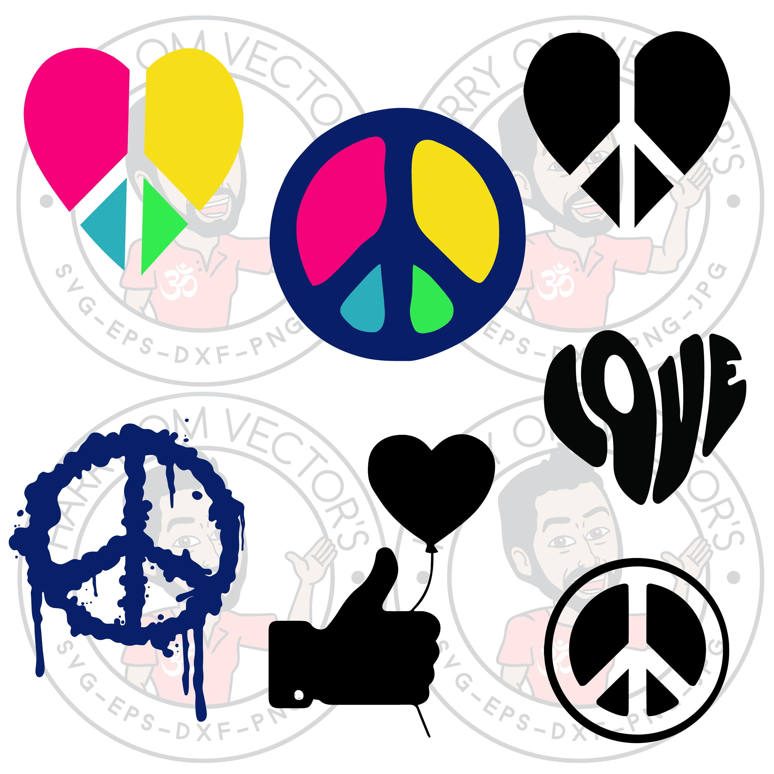 Peace Dove clipart groovy Up dxf digital  Vectors