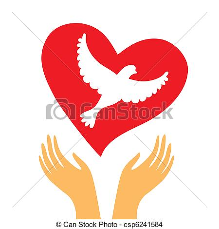 Peace Dove clipart heart #5