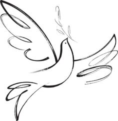 Peace Dove clipart line drawing #13