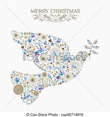 Peace Dove clipart merry christmas #6