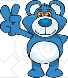Peace Sign clipart blue And of Blue Illustration Bear