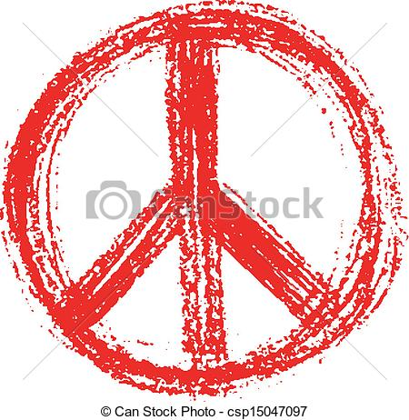Peace Sign clipart red Symbol grunge grunge in style