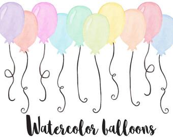 Peach clipart balloon Peach Hand Watercolor Art Painted