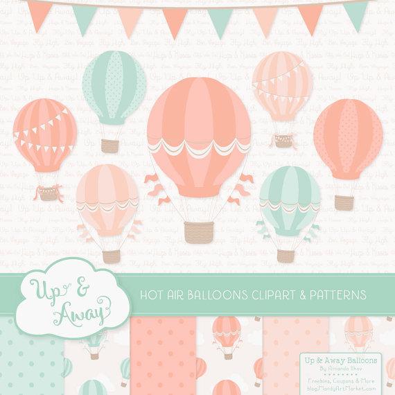 Peach clipart balloon Air Digital Air on Etsy