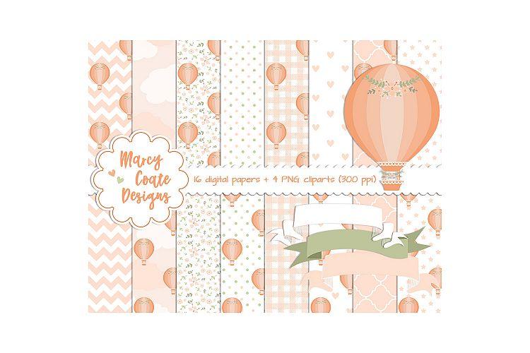 Peach clipart balloon Hot digital Peach digital stickers