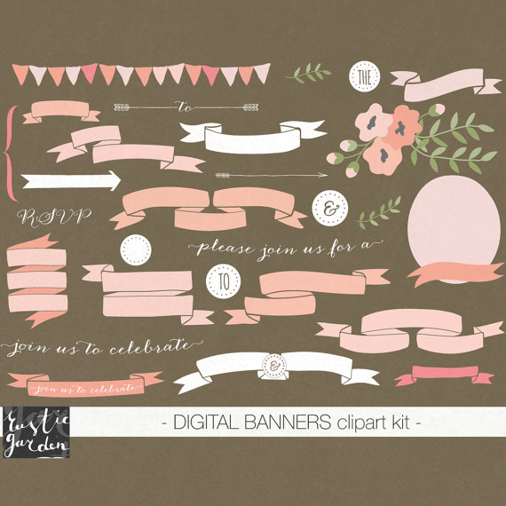 Peach clipart banner In Sale PNG kit floral