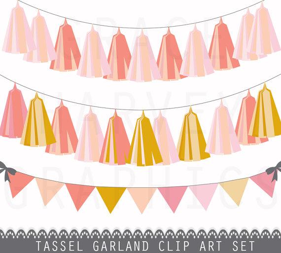 Peach clipart banner Clip Art Banner Garland Garland