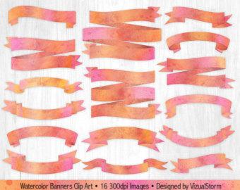 Peach clipart banner Digital Green Banner Digital Invitations