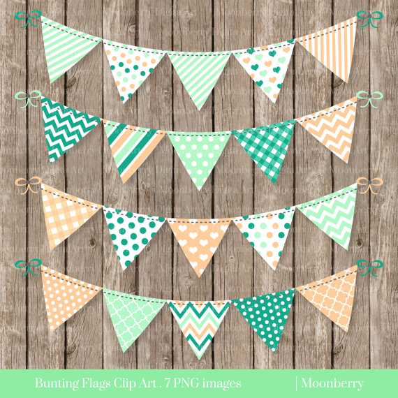 Peach clipart banner Bunting and Banners CLIPART