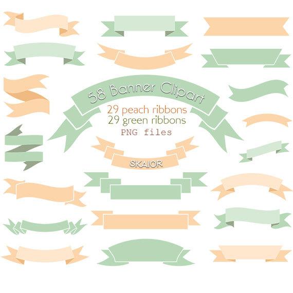 Peach clipart banner Ribbons Digital Clipart Clip Clipart