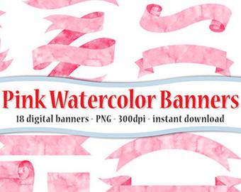 Peach clipart banner Digital Download watercolor & art
