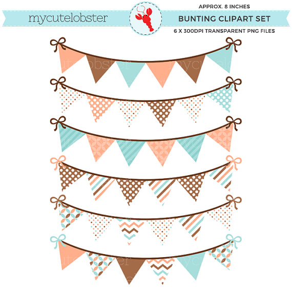 Peach clipart bunting Clip use use Set Bunting