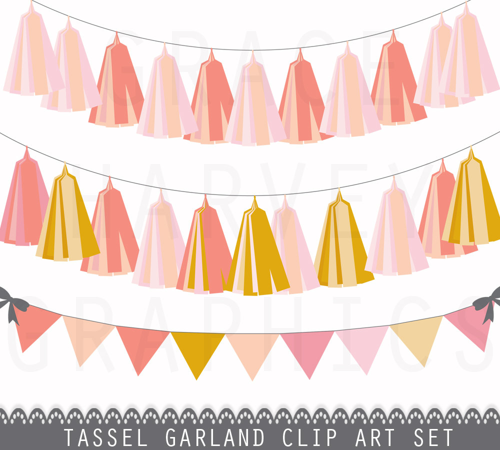 Peach clipart bunting Download Banner  Garland Use