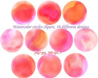 Peach clipart circle Watercolor clipart clipart art clipart