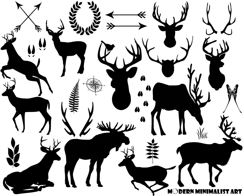 Wildlife clipart moose antler Deer clipart Antlers Rustic clipart