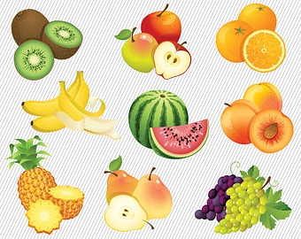 Banana clipart mix fruit Fruit Illustration set Apple Set