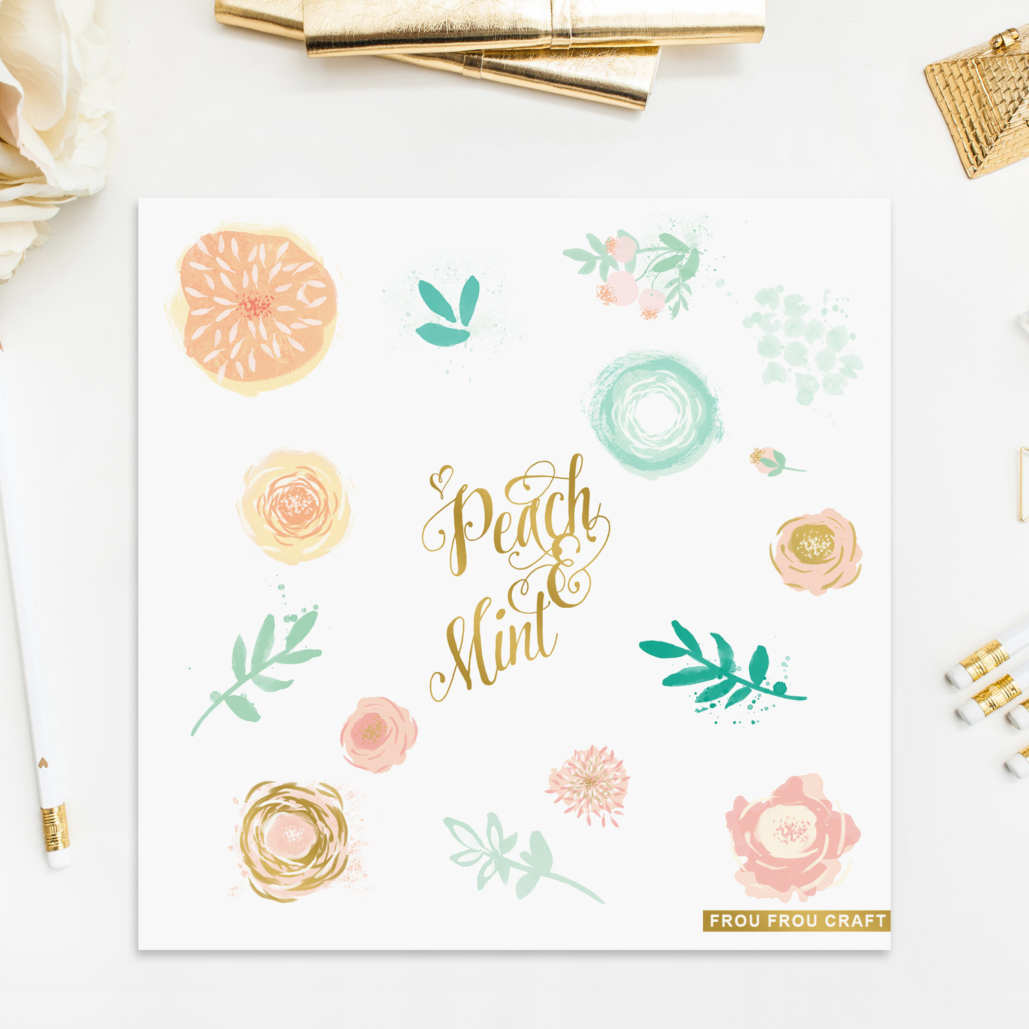 Peach clipart pink DIY Watercolor Watercolor ClipArt Yellow
