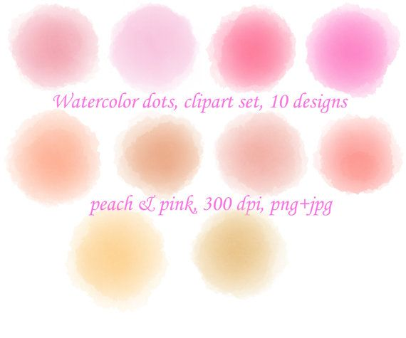 Peach clipart pink Watercolor pink on splashes watercolor