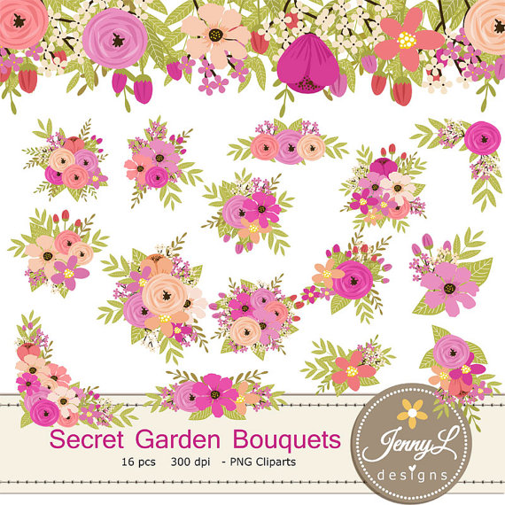 Peach clipart pink Pink Clipart Wedding Bouquet
