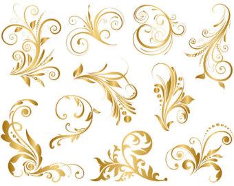 Swirl clipart gold Etsy GOLD wedding Swirls ClipArt