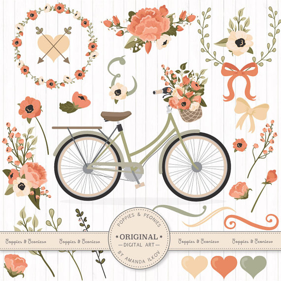Peach clipart vintage Clipart Clipart Bicycle and &