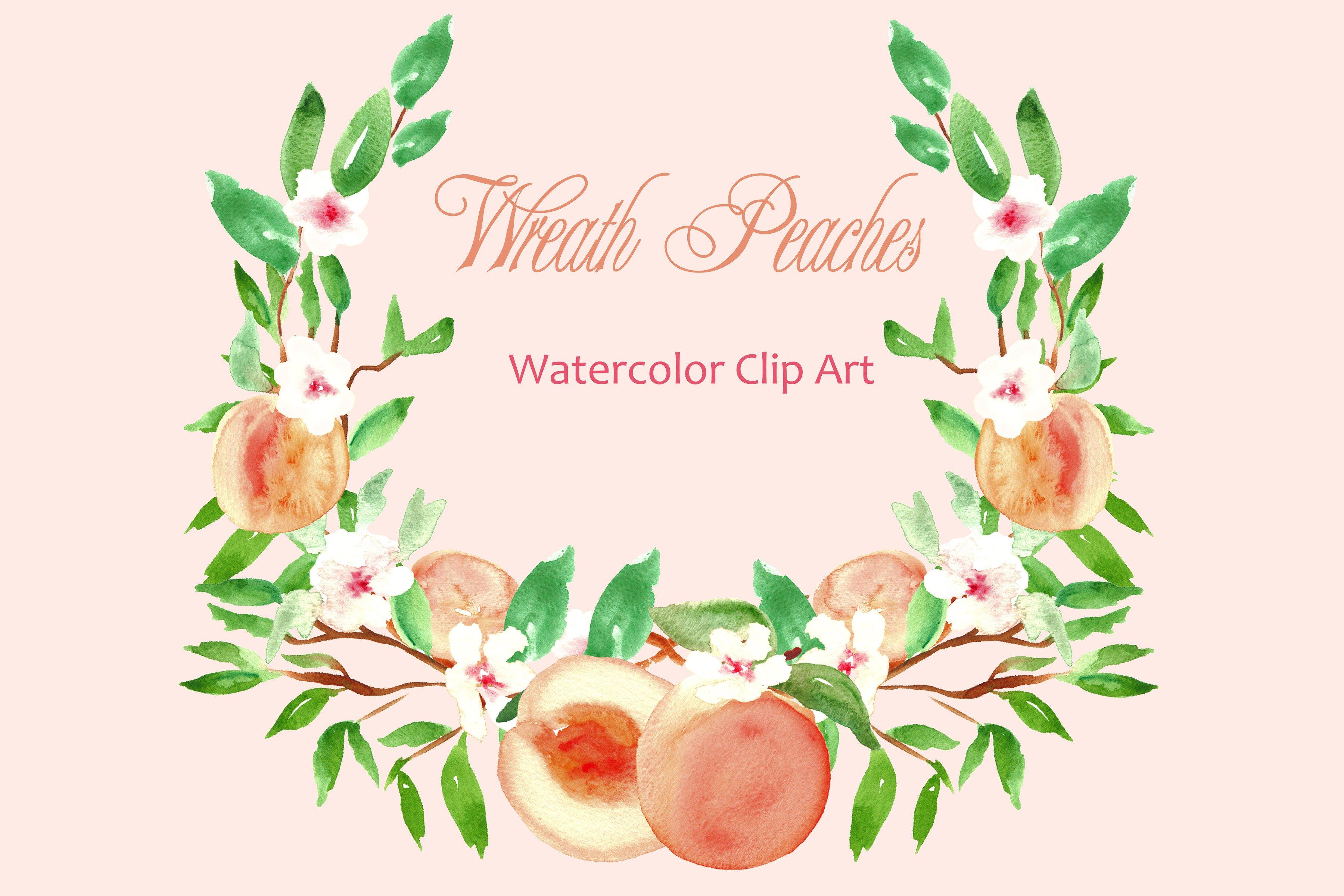 Peach Flower clipart peach color Watercolor Market  ~ Graphics