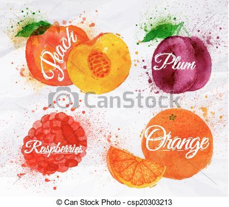 Peach clipart watercolor Vector peach Fruit orange raspberry