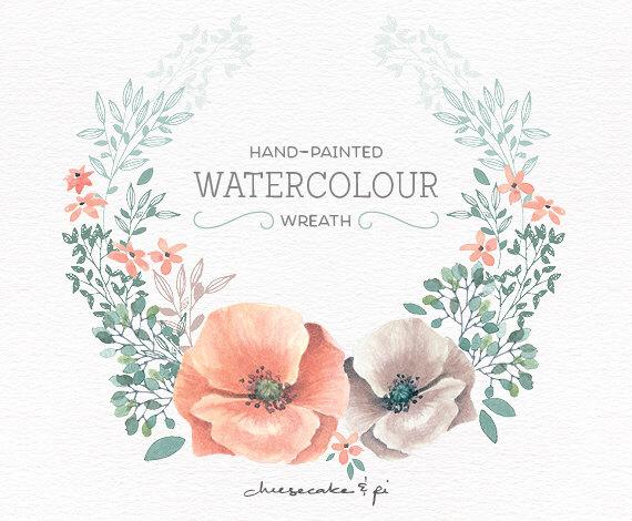 Peach Flower clipart watercolor Clip / wreath flower Peach
