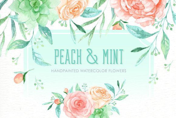 Peach clipart watercolor And Mint ~ Illustrations Creative