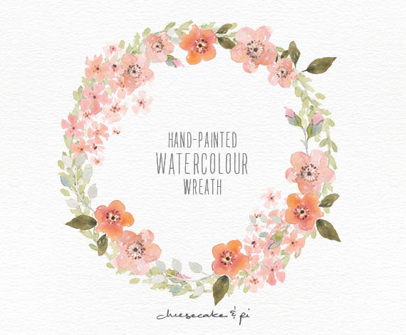 Peach Flower clipart peach blossom PNG / floral wreath: /