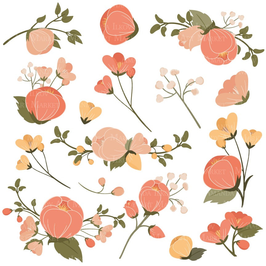 Peach Flower clipart peach blossom Peach Flower Art Clip Peach