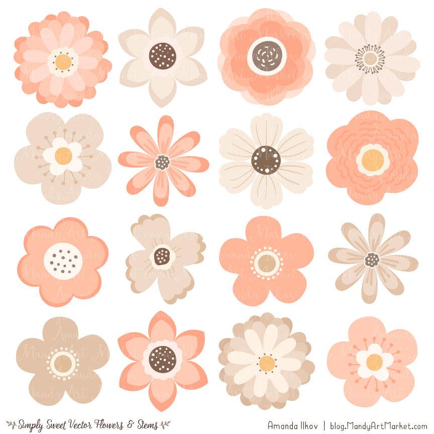 Peach clipart cute Digital file Peach Flowers