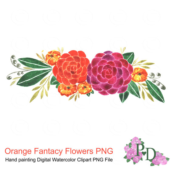 Orange Flower clipart flowery Watercolor Clip Digital Clip file