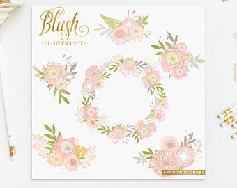 Peach Flower clipart blush flower Peach Pink Baby Blush Flowers